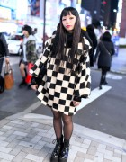 Checkered Coat, Vivienne Westwood Bag & Murua Boots in Harajuku