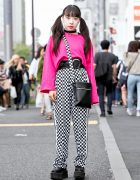 Harajuku Girl w/ Twintails in Checkered Pants, Pink Top, Creepers & Chiiiky Bag