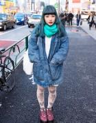 Green Hair, Oversized Acid Wash Jacket & Choco Moo Tights in Harajuku