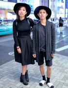 Monochrome Harajuku Styles w/ Wide Brim Hats, Christian Dada, Guess & Prada