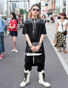 Harajuku Guy in Rick Owens, Marcelo Burlon & Chrome Hearts