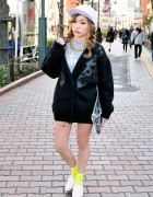 Clear Clutch, Chanel Statement Necklace & Louis Vuitton in Shibuya