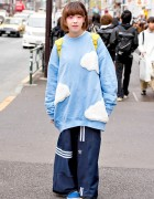 Oversized Cloud Sweatshirt & Deconstructed Adidas Pants in Harajuku