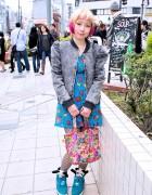 Colorful Bob Hairstyle, 6%DOKIDOKI Tote Bag & Panda Sneakers in Harajuku