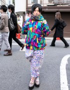 Harajuku Girl in Colorful Resale Style w/ Scooby-Doo & SpongeBob
