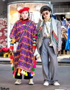 Colorful Tunic & Vintage Suit Street Styles in Harajuku w/ Converse & Vans