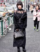 Dark Harajuku Style w/ Draped Comme Ca Ism Jacket, Kujaku Skirt & Chunky Heels