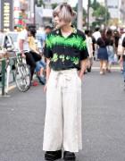 Comme Des Garcons Wide Leg Pants & Demonia Platforms in Harajuku
