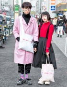 Harajuku Guy & Girl w/ Handmade Comme Des Garcons Tote Bags & Tokyo Bopper