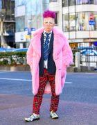 Harajuku Guy w/ Purple Hair in Pink Faux Fur Coat, Plaid Punk Pants & Comme Des Garcons Fashion