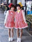 Arashi Fans w/ Cute Matching Stripes, Sparkling Hair Bows & Tattoo Tights