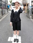 Cute Short Hairstyle, Round Glasses & Peter Pan Collar Dress in Harajuku