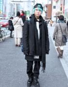 Harajuku Girl w/ Cyberdog Backpack, Green Hair & Monomania