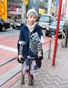 Deconstructed Hoodie & Skirt w/ Sparkling Tokyo Bopper Platforms