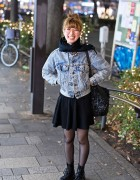 Acid Wash Levi's Jacket, Knit Skirt & Dr. Martens Boots in Harajuku
