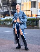 Shaved Head Harajuku Girl in Zip Front Jeans, Denim Jacket & Over-The-Knee Sock Boots