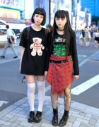 Rock Style Harajuku Girls w/ Devilish Tee, Winged Backpack & Hysteric Glamour
