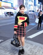 Diesel Knit Sweater, LilLilly Buckle Skirt & Vivienne Westwood in Harajuku