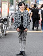 Harajuku Guy in Sequin Christian Dior Jacket & Faith Tokyo Tiger Necklace, Yosuke Boots