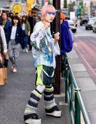 Japanese Streetwear Look w/ TA2YUKI Knit, Dog Harajuku, Kinji Resale & Platform Vans