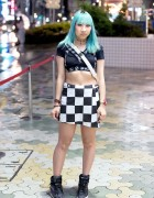 DVMVGE Crop Top, Green Hair, Checkered Skirt & Puma Sky Wedges in Harajuku