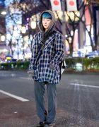 Japanese Hair Stylist in Harajuku w/ ESC Studio Plaid Jacket, Chance Chance Hoodie & Vintage Fashion