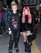 Givenchy Rottweiler, Pink Hair & Piercings in Shibuya on New Year's Eve