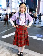 Ezaki Nanaho in Harajuku w/ Blue Ombre Hair, Unicorn Top & Plaid Skirt