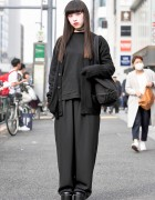 All Black Fashion by Faith Tokyo & Red Eye Makeup in Harajuku