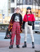 Harajuku Girls in Flame Shirt, Punk Pants, West Coast Choppers & Silver Metallic Pants