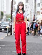 Harajuku Girl in Vintage Washington Dee Cee Overalls, Faith Tokyo & Oh Pearl Items