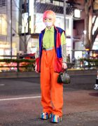Masked Harajuku Girl w/ Two-Tone Hair, Colorblock Vest, Suspenders, Faith Tokyo, Never Mind The XU, Used Focus & Demonia