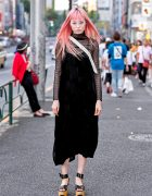 Fernanda Ly in Harajuku w/ Long Pink Hair, Vintage Dress, Bubbles & Vivienne Westwood