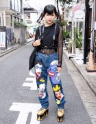 Dog Harajuku Disney Villains Jeans, Fig & Viper & Gold YRU Platforms