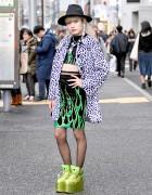 Harajuku Girl in Fig&Viper Flames, DVMVGE, Egoist & YRU Alien Platforms
