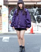 Fig&Viper Purple Bomber & Bubbles Clear Backpack in Harajuku