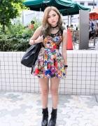 Flower & Lace Dress, YRU Platform Boots & Choker in Harajuku