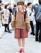 Ushanka Hat, Frapbois Sweater, Cute Collar, Plaid Shorts & Converse in Harajuku