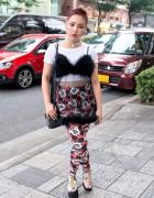 Harajuku Girl w/ Short Red Hair, Vintage Sheer Top, Mickey Mouse & Unif