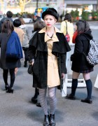 Furry Black Hat, Suede Overcoat & Striped Tights in Shibuya