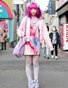 Pink-Purple Hair, Galaxxxy Papillon Rose Anime Dress & Plush Bag in Harajuku