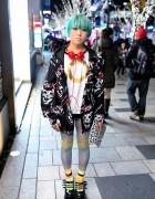 Short Green Hair, Galaxxxy Jacket, Polka Dots & Platforms in Harajuku