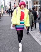 Pink Hair, Galaxxxy Faux Fur Coat & Tokyo Bopper Platforms in Harajuku