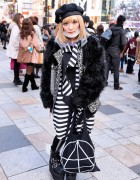 Purple Tipped Hair, Glad News Winged Boots & Faux Fur in Harajuku