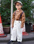 Stylish Harajuku Kid in Global Work, Hikakin Glasses, Suspenders, and New Balance Sneakers