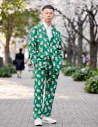 Bunka Fashion College Student Wearing Golf Wang Suit & Golf Wang Sneakers in Tokyo