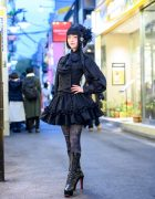 Japanese Gothic Lolita Street Style w/ MR Corset Top, Sheglit Vest, Na+H, Bloody Rose & Amber Snow