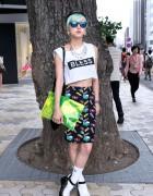 Green Hair, Crop Top & Moussy x Coca-Cola Earrings in Harajuku