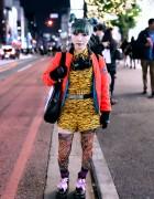 Green Haired Harajuku Girl w/ Jeremy Scott Fashion & Tiger Backpack