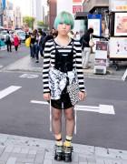 Green-Haired Harajuku Girl w/ Stripes, Polka Dots, Fishnets & Platforms